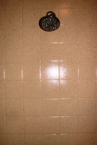 Shower Stall after Refinishing with Stone Fleck